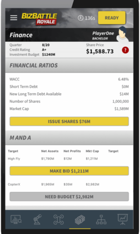 Business Game Screenshot Finance Issue Shares