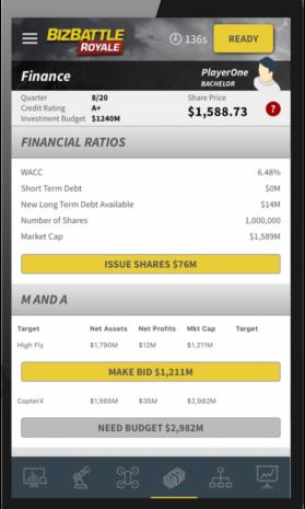 Business Game Screenshot Finance M&A