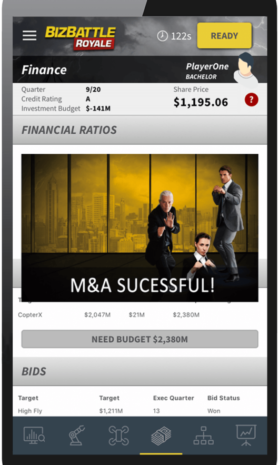 Business Game Screenshot Financial Ratios