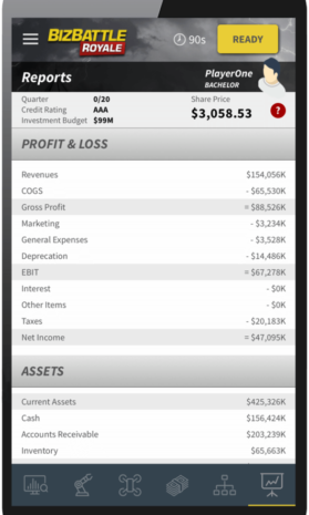Business Game Screenshot Accounting Report